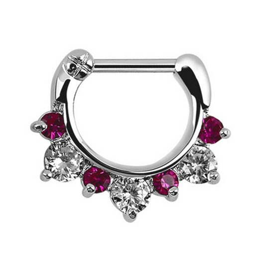 Adelia´s Nasenpiercing »Septum Clicker Nasenpiercing mit Stahl Stab und Steinen«, aus Pewter, Silber platiniert