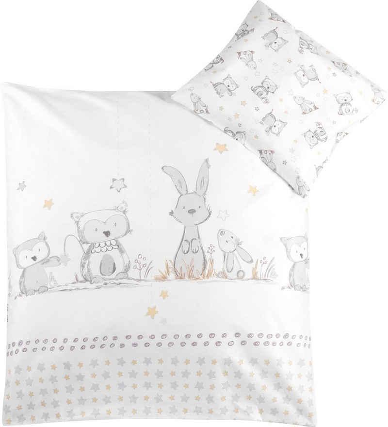 Kinderbettwäsche »Häschen und Eule«, Julius Zöllner, mit Hasen und Eule