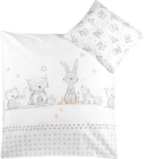 Kinderbettwäsche »Häschen und Eule«, Zöllner, mit Hasen und Eule