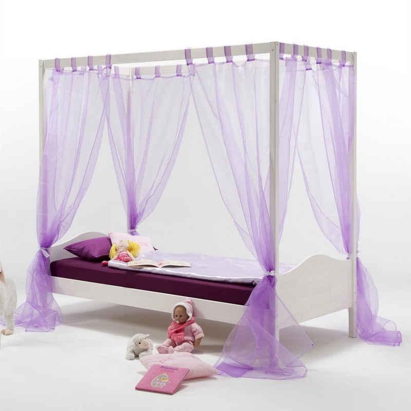 IDIMEX Himmelbett »NADINE«, Himmelbett Kinderbett Mädchenbett 90x200 cm Kiefer massiv weiss lackiert