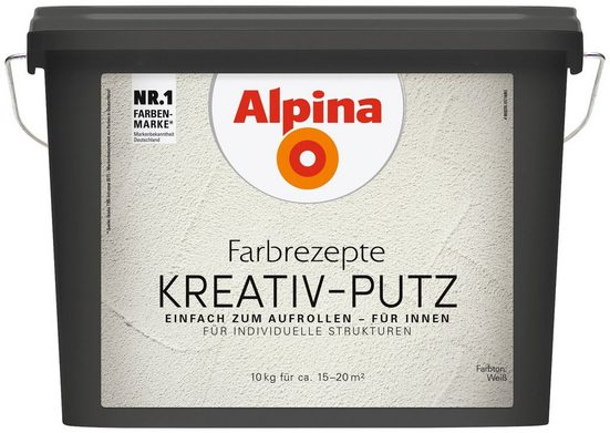 Alpina Kunstharzputz »Farbrezepte - Kreativ-Putz« weiß, 10 kg