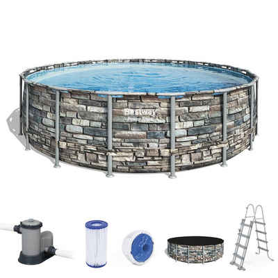BESTWAY Pool »BESTWAY Power Steel Frame Pool Swimmingpool Filterpumpe Leiter Cover 549x132cm«