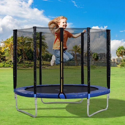 Masbekte Gartentrampolin, (mit Sicherheitsnetz), Outdoor Trampoline with Safety Enclosure Net and Padded Poles, 8FT Garden Trampoline 150KG Weight Capacity
