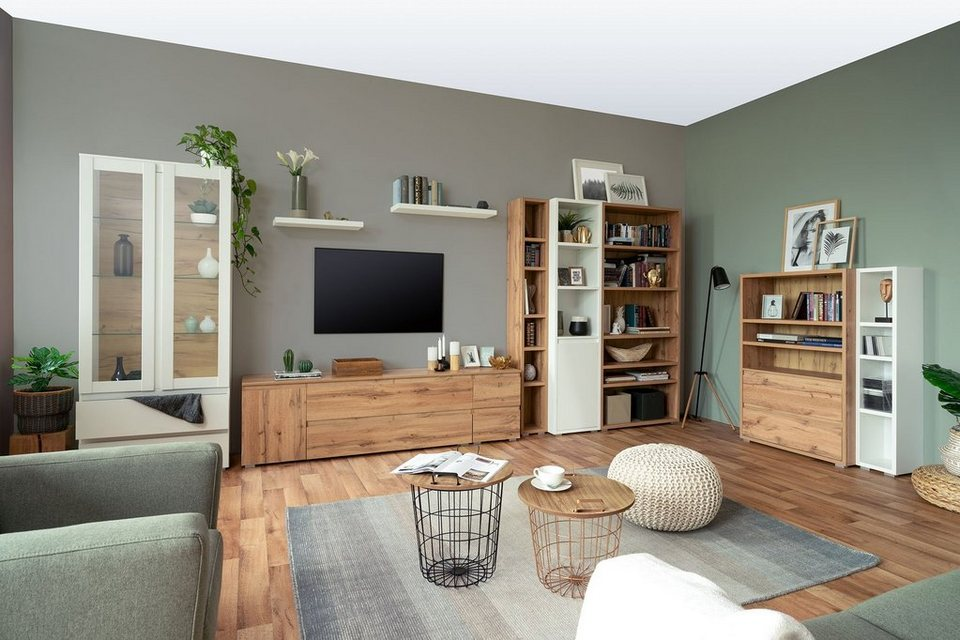 newroom lowboard »nikita« tv board weiß modern vintage
