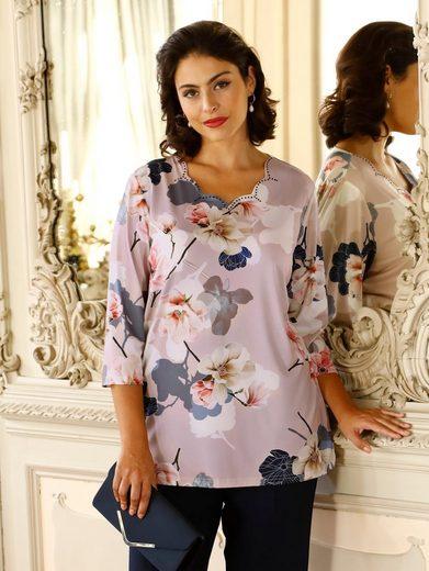 m. collection Print-Shirt mit hübschem Ausschnitt und Blumendruck