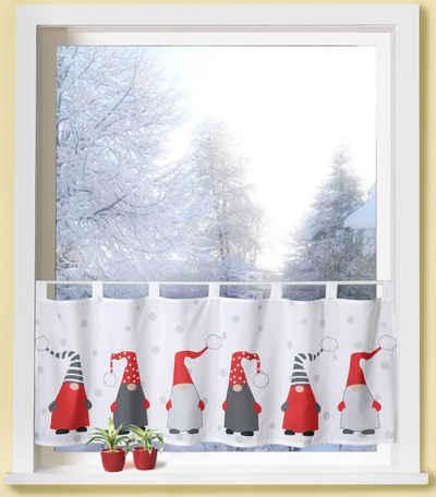 Scheibengardine »Weihnachtswichtel«, Weckbrodt, Schlaufen (1 Stück), Microsatin