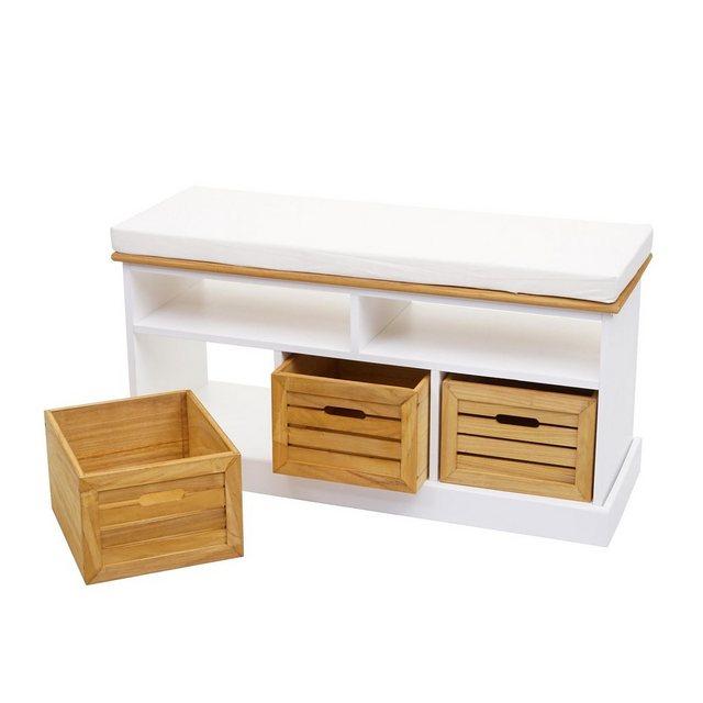 MCW Sitzbank »MCW-G50«| Sitzbank mit Staufächern| Landhaus-Stil| Inklusive 3 Holzboxen| Bequemes Sitzpolster | Küche und Esszimmer > Sitzbänke > Einfache Sitzbänke | MCW
