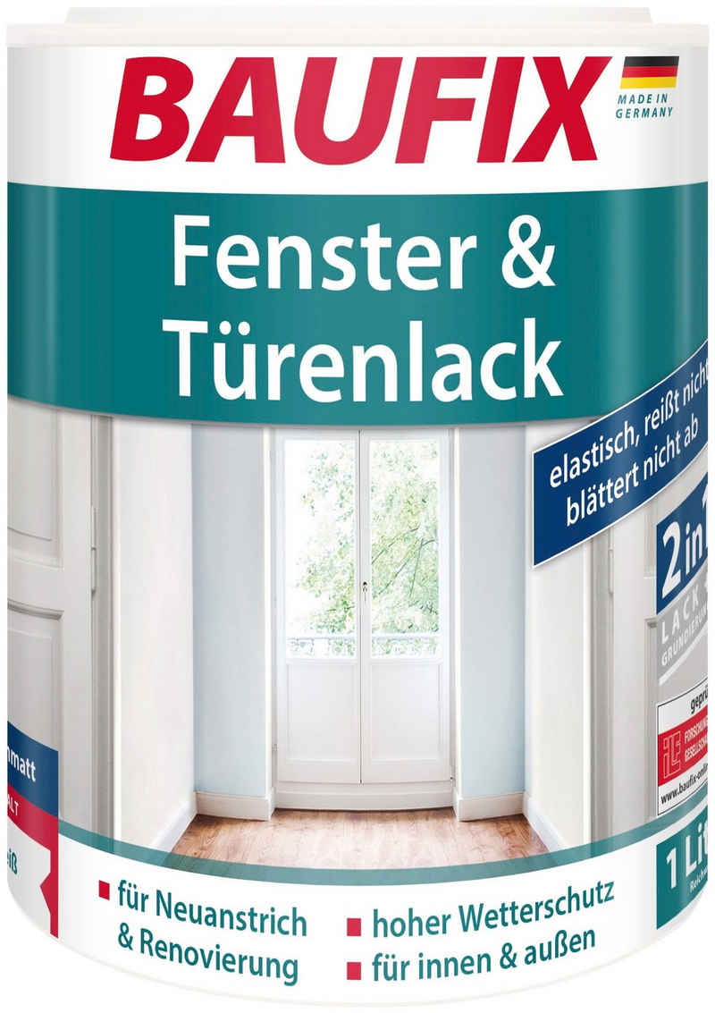 Baufix Holzlack »Fenster & Türenlack seidenmatt«, 1 Liter, weiß