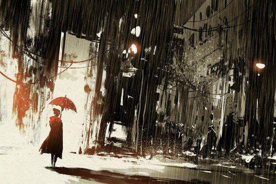 queence Leinwandbild »Frau im Regen«