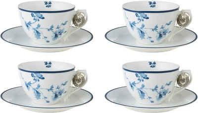 LAURA ASHLEY BLUEPRINT COLLECTABLES Cappuccinotasse »China Rose«, Porzellan, 4 Tassen, 4 Untertassen