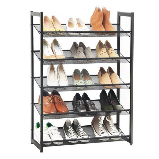 SONGMICS Schuhregal »LMR005B«, Schuhständer aus Metall, verstellbare Schuhablage, mit 5 Ablagen, Wohnzimmer, Flur, schwarz