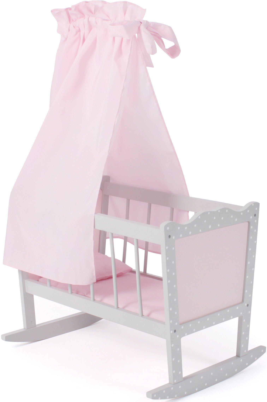 Puppenwiege »Puntos grey«, mit Himmel, Stoff-Einhang, Bettdecke und Kopfkissen