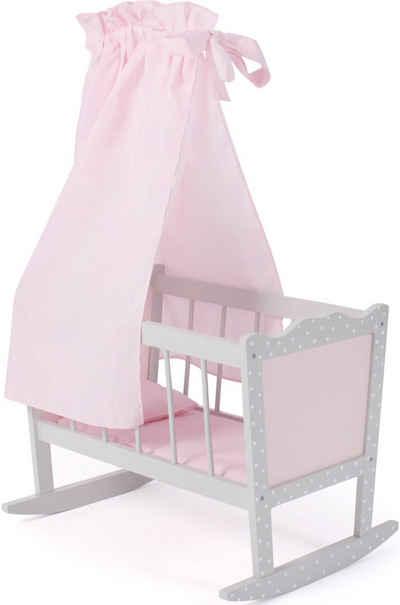 CHIC2000 Puppenwiege »Puntos grey«, mit Himmel, Stoff-Einhang, Bettdecke und Kopfkissen