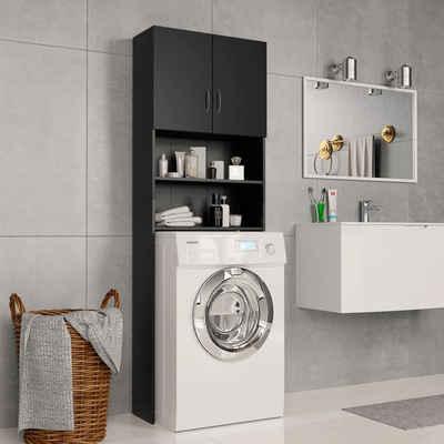 vidaXL Waschmaschinenunterschrank »vidaXL Waschmaschinenschrank Schwarz 64×25,5×190 cm Spanplatte«