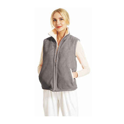 RAIKOU Fleeceweste »RAIKOU Damen Flausch Weste Freizeitjacke Zum Wenden Micro Velours Reversible House Classic Fleeceweste« Warm and fluffy reversible bicolor vest