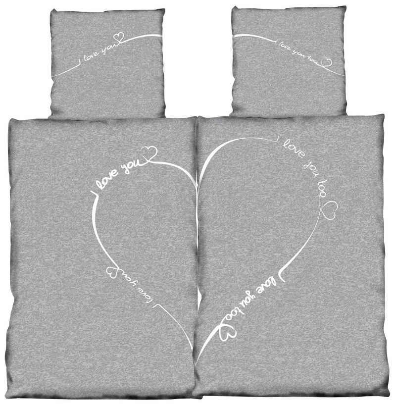 Bettwäsche »Love you«, One Home, Herzen und meliert 4 Teilig