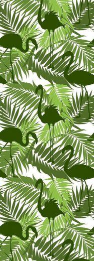 queence Vinyltapete »Tropische Blätter-Flamingo-Grün«, 90 x 250 cm, selbstklebend