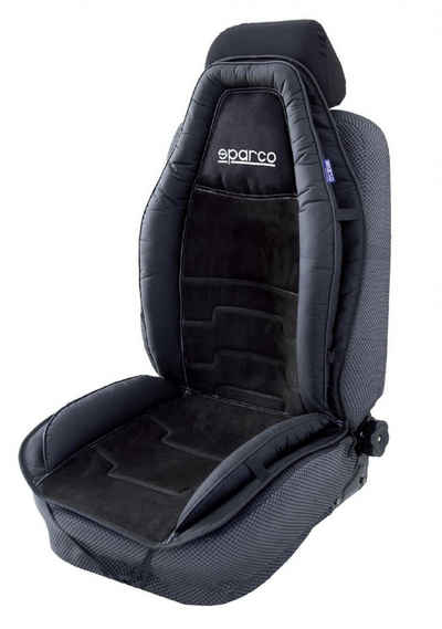 dynamic24 Sitzkissen, Sparco Kunstleder Sitzauflage Auto PKW Sitzmatte Sitzbezug Rückenlehne