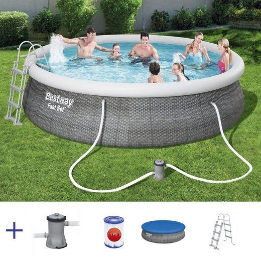 BESTWAY Pool »BESTWAY Fast Set Pool Swimmingpool Rund Rattan Look Filter Leiter Cover 457x107«