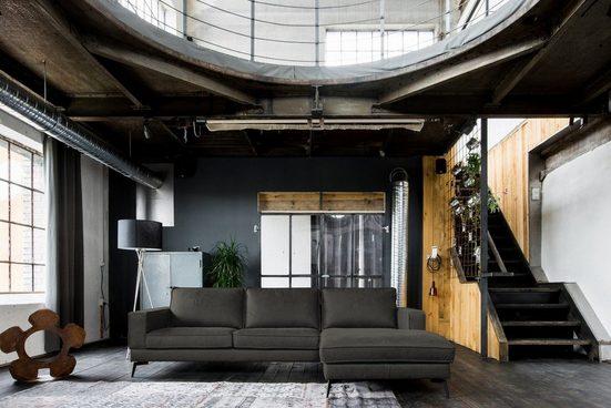 Kasper-Wohndesign Sofa »BLOOM«, Leder Retro versch. Farben Recamiere rechts o. links