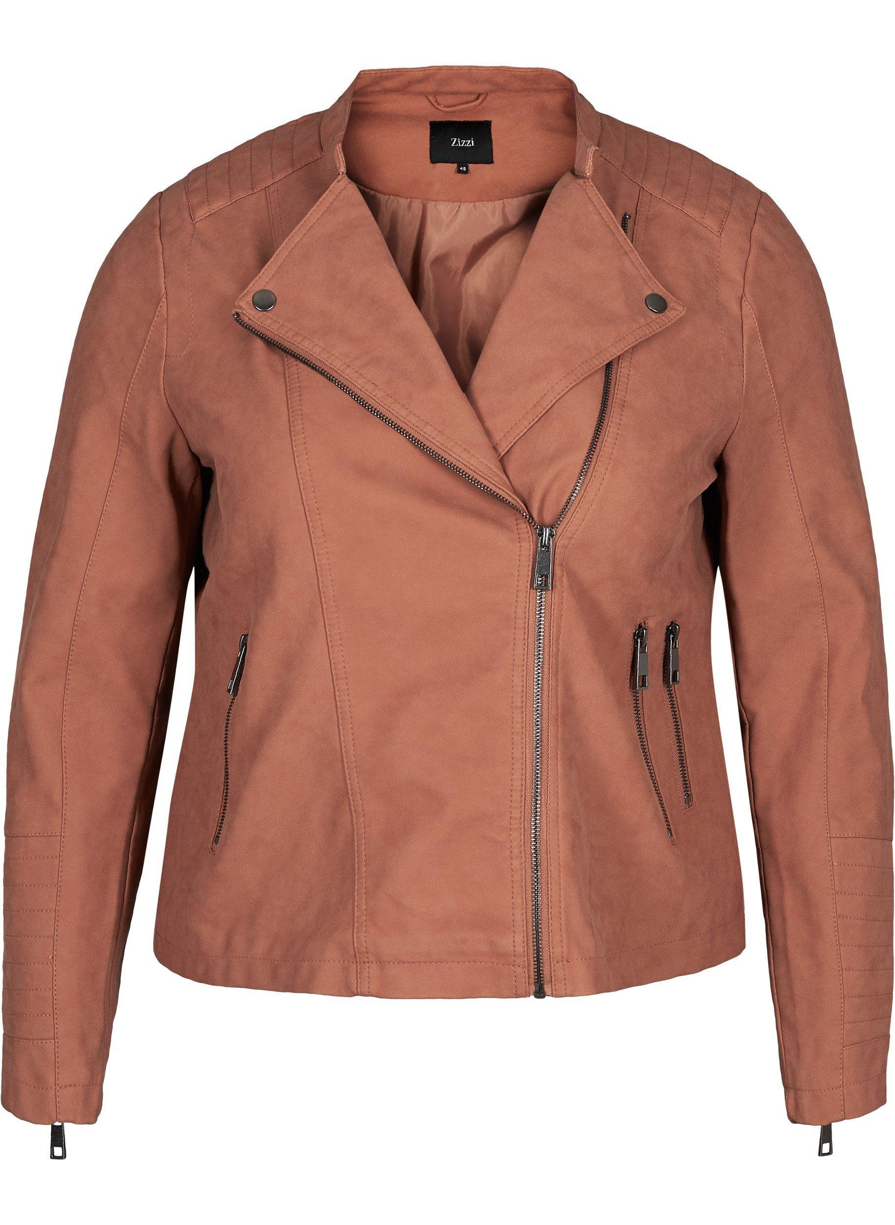 Zizzi Lederimitatjacke Große Größen Damen Jacke aus