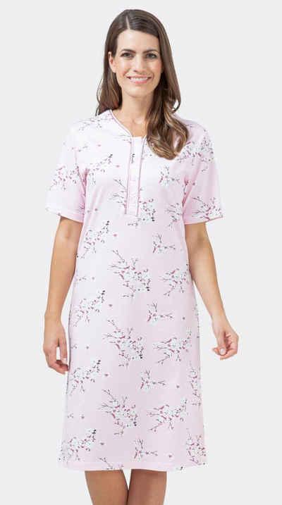 Hajo Nachthemd »Hajo Damen Nachthemd mit Knopfleiste« feinen Blumendekor