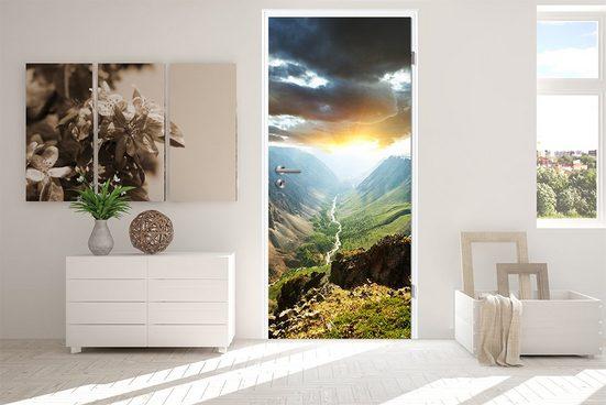 Bilderdepot24 Türtapete, Türaufkleber Berge mit Sonnenuntergang, selbstklebendes Vinyl