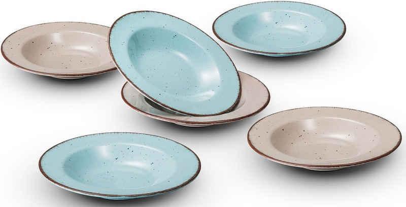 ARTE VIVA Suppenteller »Puro«, (6 Stück), türkis und beige sortiert in einem Set, vom Sternekoch Thomas Wohlfarter empfohlen, Ø 22 cm