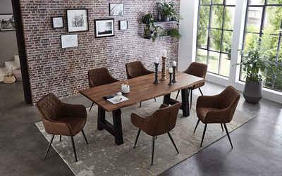 Junado® Essgruppe »Athen«, 7-teilig mit Tisch Baumkante massiv A-Gestell schwarz und 6x Stühle Elli