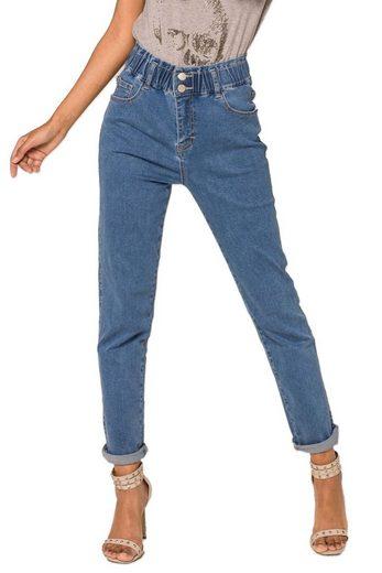 Nina Carter High-waist-Jeans »3522« Damen Denim Jogger Jeans elastische Vintage Paperbag Hose