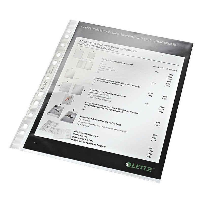 LEITZ Prospekthülle »4770«, glasklar, Format A4 mit Multilochung, oben offen