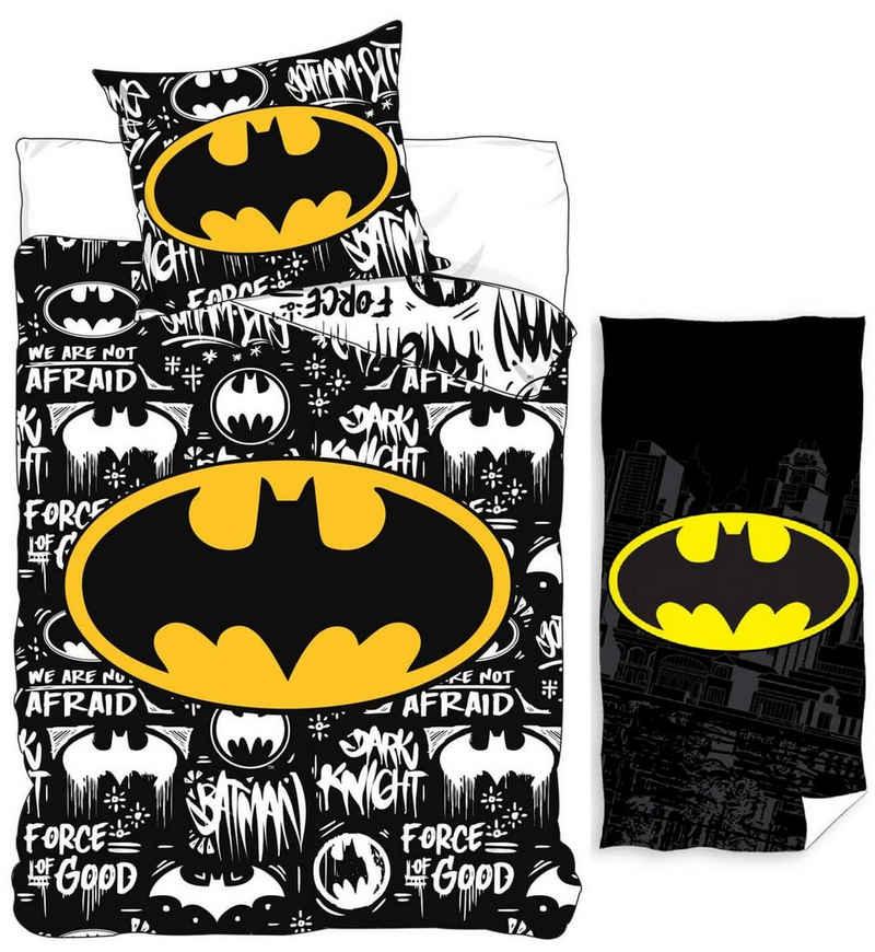 Kinderbettwäsche »Batman - Kinder-Bettwäsche-Set, 135x200 cm und Badetuch, 70x140 cm«, Batman, 100% Baumwolle