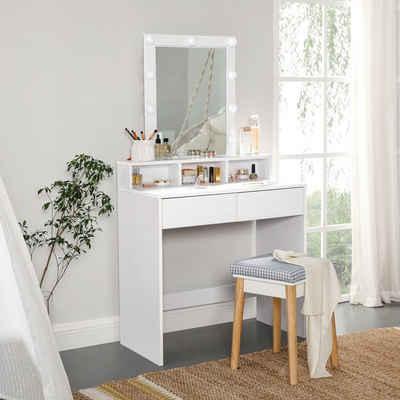 VASAGLE Schminktisch »RDT114W01«, Kosmetiktisch, Frisierkommode, Make-up, modern, weiß