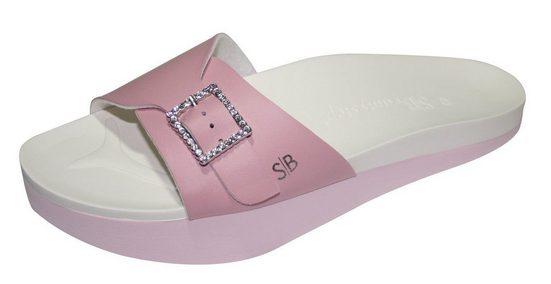 dynamic24 Pantolette Beautystep Aktiv Fitness Sandalen Schuhe Slipper Strass rosa Fußbett