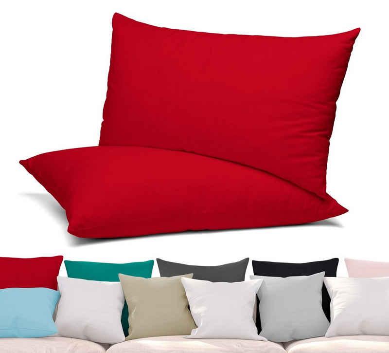 Beautex Dekokissen »BEAUTEX 2er Set Kissenbezug, Kissenhülle aus gekämmter Baumwolle, Premium Jersey 160g/m², Größe und Farbe wählbar«
