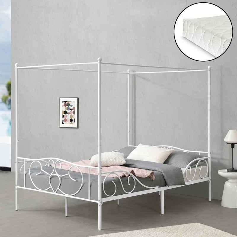 en.casa Himmelbett, »Finström« Metallbett Doppelbett mit Kaltschaummatratze 140x200cm Weiß