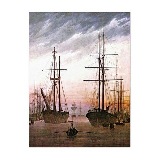 Bilderdepot24 Leinwandbild, Leinwandbild - Caspar David Friedrich - Ansicht eines Hafens