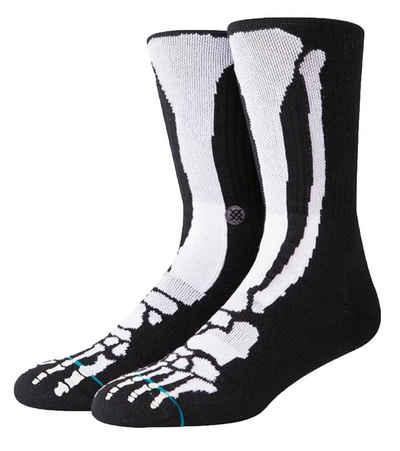 Stance Basicsocken »STANCE Bones Socken aufgefallene Freizeit-Strümpfe Unterwäsche mit Bones-Print Schwarz«