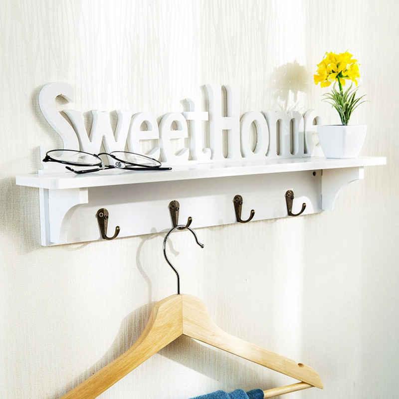 Favson Schlüsselbrett »Sweet Home Design Wandhänger Schlüsselhalter Hänge-Organizer mit 4 Haken Multifunktions-Wandhalterungshaken«