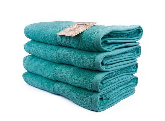 Aymando Handtuch Set »Liniert« (Spar-Set, 4-tlg), Nachhaltiges Handtuchset aus ägyptischer Baumwolle, umweltfreundlich, Made in Egypt, Türkis
