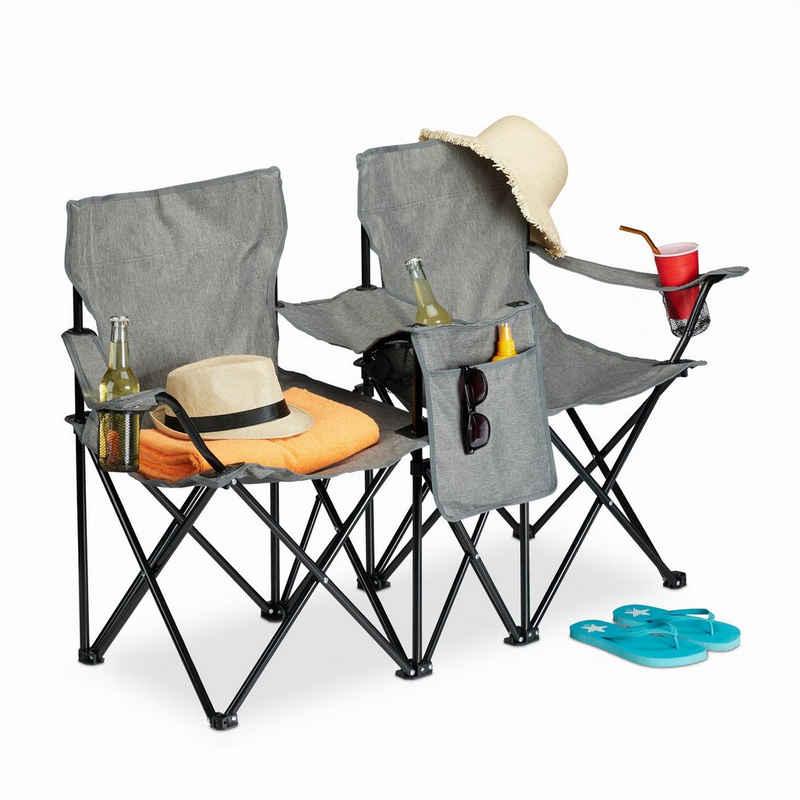 relaxdays Campingstuhl »Doppel Campingstuhl mit Getränkehaltern«