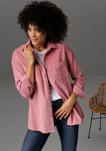 Aniston CASUAL Hemdbluse mit Ton-in-Ton-farbenen Druckknöpfen - NEUE KOLLEKTION