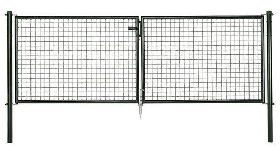 GAH Alberts Wellengitter-Doppeltür für Maschendrahtzaun »300 cm breit grün«