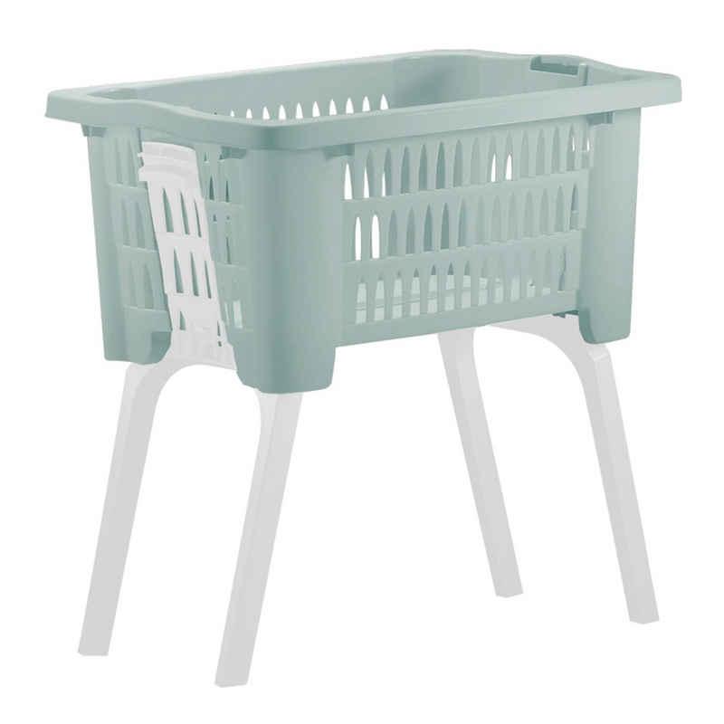 Deuba Wäschekorb, mit ausklappbaren Beinen Tragegriffe 38 L Kunststoff Haushalt Waschwanne 60x40x58 cm Waschbehälter Grün