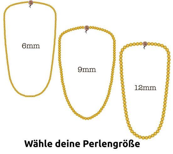 WOOD FELLAS Halsband »WOOD FELLAS Hals-Schmuck schicke Holz-Kette Deluxe Pearl Necklace Mode-Schmuck Neongelb«