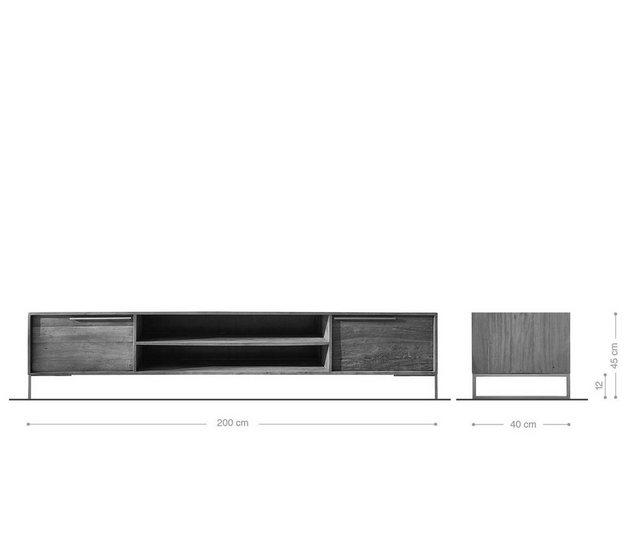TV Möbel - DELIFE TV Board »Odon«, Natur 200x40x45 cm Exotic Wood Lowboard  - Onlineshop OTTO