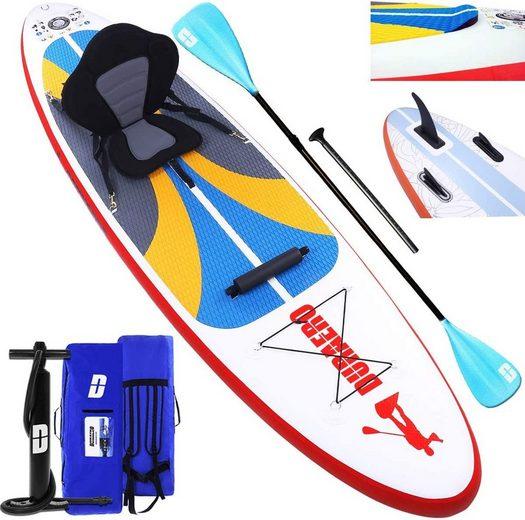 DURAERO Inflatable SUP-Board »Stand up Paddle Board Aufblasbare SUP Board Set, Kajak Komplett-Set, Luftpumpe, Doppel-Paddel, Komplettes Zubehör, 305x76x15cm, bis 110kg, Weiß«