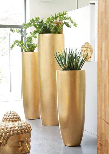 Flingora Bodenvase »Ophelia«, mit Einsatz - Fiberglas Pflanzvase - Indoor - Metallisch Gold - Höhe 120 cm / Ø 46 cm