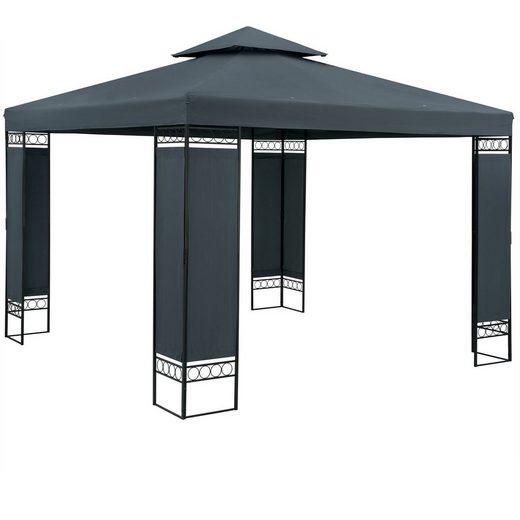 Casaria Pavillon »Lorca«, 3x3m, anthrazit, UV-Schutz 50+, wasserabweisend, stabil, robust, Metall, Luxus, Gartenpavillon