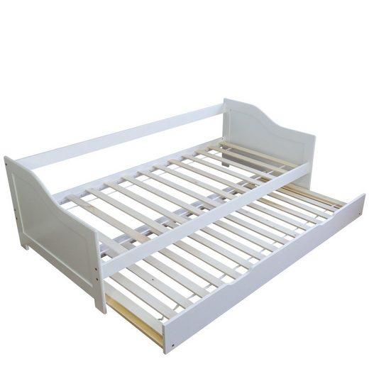 Homestyle4u Funktionsbett »Jugendbett 90x200 cm weiß Ausziehbar Holzbett«, mit 2 Lattenroste